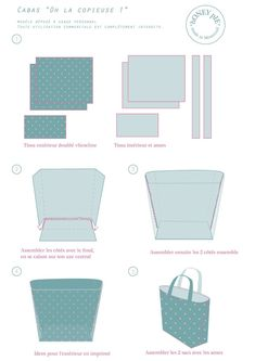 Risultati immagini per tutorial cabas reversibles Bag Patterns To Sew, Sewing Patterns, Diy Sac, Diy Bags Purses, Tips & Tricks, Couture Sewing, Practical Gifts, Fabric Bags, Dressmaking