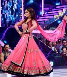 Shop Online Bollywood Actress madhuri Dixit beautiful long anarkali in semi stitched form in light pink color from India.