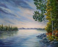Original oil painting landscape, painting sunset over the lake in Algonquin park, Ontario, Canada, painting nature, autumn, forest, coast by svetlanamatevosjan. Explore more products on http://svetlanamatevosjan.etsy.com
