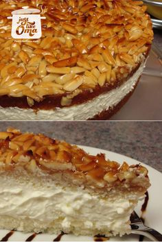 "Bienenstich Cake: Mike's birthday cake, a German ""Bee Sting"" cake. http://www.quick-german-recipes.com/bienenstich-recipe.html  ❤️it!"