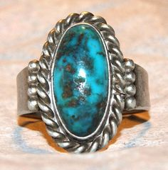 NAVAJO BISBEE TURQUOISE Sterling Ring Very Rare by AuctionHunter, $135.00
