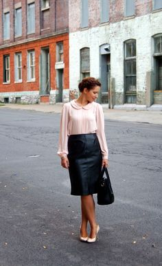 Happy Medley: Leather skirt, Zara, blush pink blouse, fall must haves