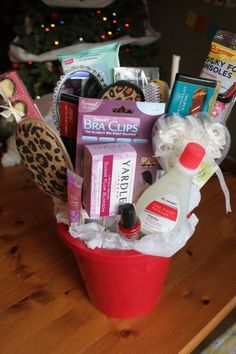 "Dollar Store  ""Beauty Bouquet"" gift basket"