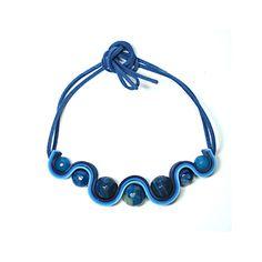 Marbles Collana Moosgummi e perle marmorizzate toni azzurro (pezzo unico) : Collane di bibidimorbidecreazioni