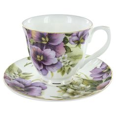 Purple Pansy Bone China - Cup and Saucer - Set of 4