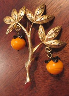 SIGNED Tortolani Gold Tone Persimmon Tree Brooch Art Glass Dangle Bead Fruit Pin #Tortolani
