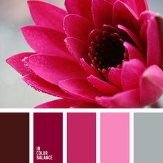 бордовый, вишневый, лиловый цвет, оттенки вишневого, оттенки розового, подбор цвета, светло серый, серый, темно-вишневый, цвет вишни, цветовое решение для дома, яркий розовый.