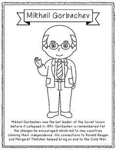 mikhail gorbachev biography coloring page craft or poster soviet union