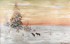 Vladimir Myravyov – landscape painter Winter landscape Winter landscape with wolves