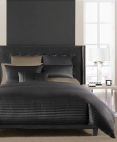 Hotel Collection Onyx Bedding Collection Bed Sheets Online, Cheap Bed Sheets, Black Comforter, Comforter Sets, Comforters Bed, Teal Bedding, Grey Duvet, Bedspreads, Linen Bedding