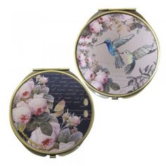 A gorgeous round Aviary Hummingbird Compact Mirror by Disaster Designs. The perfect size to pop in your handbag or make up bag.