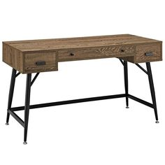 Modway Furniture Modern Surplus Office Desk in Walnut EEI-1328-WAL-KIT Designed to present a contemporary take on excess inventory, the Surplus desk is a rustic piece that reclaims and repurposes the