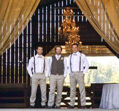 Wedding ceremony barn, wedding décor, groomsmen. Rustic barn wedding and reception venue in Alabama whiteacresfarms.com