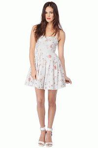 BB Dakota – Galilee Floral Print Cut-Out Dress In Optic White
