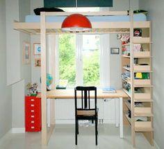 This is a modified version of DIY Loft bed Ana by NeoEko: the bed is elevated and mirrored.   Dit is een aangepaste versie van zelfbouw hoogslaper Ana: het bed is verhoogd en gespiegeld. Aanpassingen gedaan door de bouwer. Youtube: http://youtu.be/3sWXxsEUZME ...Zelf maken met: www.meubelwerktekening.nl