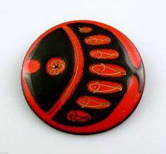 Early Vintage 1960s Passille Sylvestre Copper Enamel Modern Fish Brooch Pin