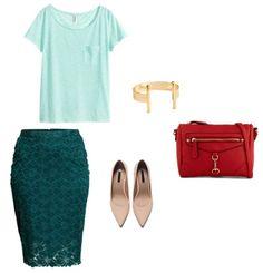 K: Bluzka, spódnica, bransoletka H&M  Buty Zara  Torebka Aldo