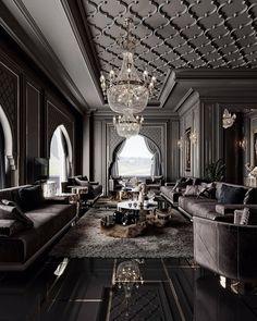 Mansion Interior, Dream House Interior, Luxury Homes Dream Houses, Dream Home Design, Modern House Design, Dark Interiors, Luxury Interior Design, Luxurious Bedrooms, Luxury Rooms