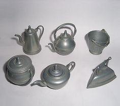 Dollhouse-Miniature-Cookware-Lot-x-6-Made-of-Pewter-England
