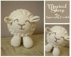 Sheep crochet pattern with a musicbox inside, about tall! Plays a cute little song when you pull his tail. Crochet Round, Double Crochet, Single Crochet, Knit Crochet, Crochet Baby Toys, Crochet Animals, Chain Stitch, Slip Stitch, Cute Sheep