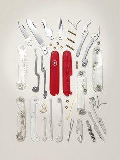 Swiss Army Knife disassembled