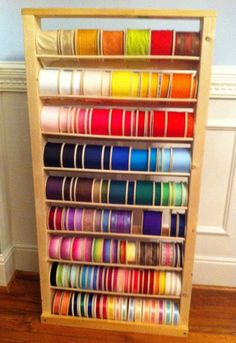 "Handmade 48"" Wooden Ribbon Spool/roll/reel Organizer/rack/shelf/cabinet Storage"