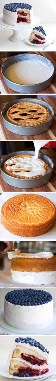 ohmystars I must try this, I love cherry pie, I love cake, I love blueberries.... Oh my, oh my, oh my  How to make a Double Layer Cherry Pie Cake