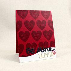Be Mine Valentine Card by Lizzie Jones for Papertrey Ink (December 2015)