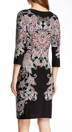 Maggy London 3/4 Sleeve Print Sheath Dress