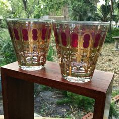 Vintage 1960s Culver Glassware Cranberry Scroll by ThisTakesMeBack