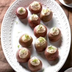 Smoked Salmon New Potatoes Recipe - Give twice-baked potatoes a rest this year and try these stuffed spuds. Smoked salmon and cream cheese blended with lemon juice and dill are simply piped into small red potatoes. Leftovers are even good with eggs for breakfast. —Taste of Home Test Kitchen
