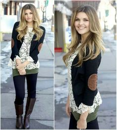 From the lace shirt to the sweater with elbow patches to the boots.  This is a beautiful outfit!