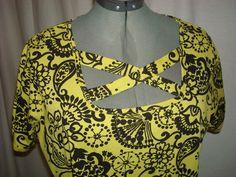 ROAMAN'S Womens Bouse Size M (14/16 Lime/Black No Buttons No Snaps  #Roamans #Blouse #YourChoice