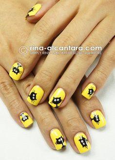 DIY halloween nails: DIY Halloween nail art : Black Cats Galore