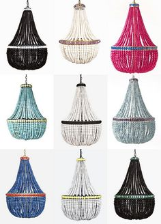 Crushing on Marjorie Skouras' amazing chandeliers!  What is your favorite color?