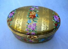 VINTAGE ATELIER LE TALLEC LIMOGES LARGE LIDDED BOX EMBOSSED GOLD FLOWERS 1979