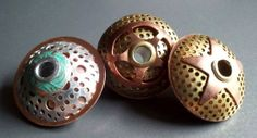 Undersides of Metal UFO Trio, by Jayne LeRette, BadgerBeads
