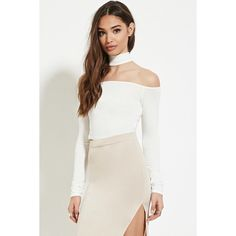 Forever 21 Women's  Cutout Mock-Neck Crop Top ($16) ❤ liked on Polyvore featuring tops, asymmetrical top, mock neck crop top, white crop top, white long sleeve top and off the shoulder crop top