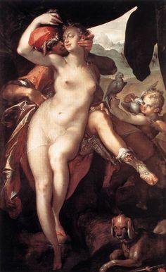SPRANGER, Bartholomaeus  [ Flemish  Mannerist Painter, 1546-1611]  Venus and Adonis1597