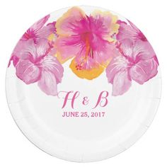 Brushed Hibiscus Floral Wedding Paper Plates by trendythings on Zazzle  @zazzle #zazzle #customizable #personalize #wedding #invitation #marriage #married #wed #bride #groom #bridal #shower #fun #planning #engage #engagement #party #event #couple #women #family #friends #invite #chic #modern #style #contemporary #buy #shop #sale #shopping #blog #blogging #look