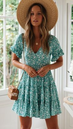 Delicate Aqua Floral Skater Dress – Gabi Swimwear Source by dresses Mode Outfits, Dress Outfits, Fashion Dresses, Aqua Dress Outfit, Skater Outfits, Vans Outfit, Fashion Shorts, Skater Dresses, School Outfits