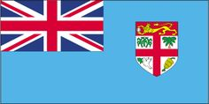 Geography of Fiji: The Fiji flag is light blue with the flag of UK in the upper hoist-side; the Fijian shield depicts a yellow lion above a white field quartered by the cross of Saint George featuring stalks of sugarcane, a palm tree, bananas, and a white dove.
