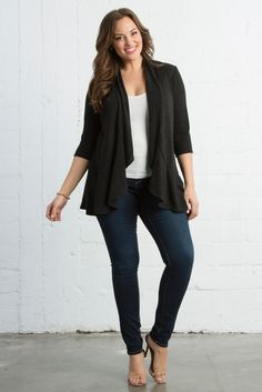 A feminine sweater like our plus size Love Story Cardigan is the perfect weekend accessory. Browse our entire made in the USA collection and see more style inspiration online at www.kiyonna.com.