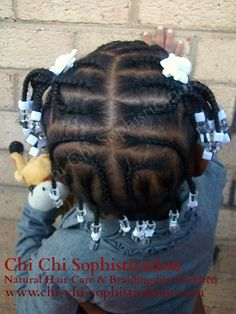 Kids Hairstyles Braids : cornrows and beads Black Baby Girl Hairstyles, Little Girls Natural Hairstyles, Cute Toddler Hairstyles, Kids Braided Hairstyles, Girl Short Hair, Children Hairstyles, Little Girl Braid Styles, Kid Braid Styles, Little Girl Braids
