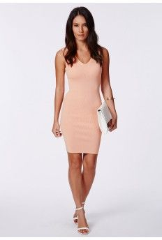 Cathleen Blush Ribbed Knit Mini Dress
