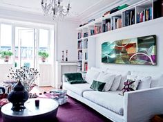 Look Cool and Beautiful With Purple Accent for Apartment: White Living Room Interior With Purple Carpet Bright Apartment, White Apartment, Dream Apartment, Apartment Ideas, Apartment Interior Design, Living Room Interior, Living Rooms, Swedish Interiors, White Interiors