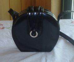 Vintage 1960s Round Box Purse Black Leather by ChevyLovesLaura, $30.00
