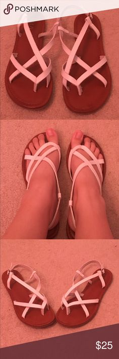 Kohl's white sandals. Size 9. Only worn a few times. Comfy walking sandals for a warm summer day! Mia Shoes Sandals