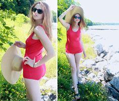 "Vintage 1-Piece MONOKINI SWIMSUIT Red Viscose ""Art Silk"" Swim Beach Sports Tank Maillot Athletic ""Aldrich"" Woman's Sun Swimming Suit Size 32 by HarlowGirls on Etsy"