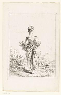 François Boucher | Jong meisje met een mand, François Boucher, 1730 - 1760 | Een jong meisje, op de rug gezien, met een mand op haar linker arm.